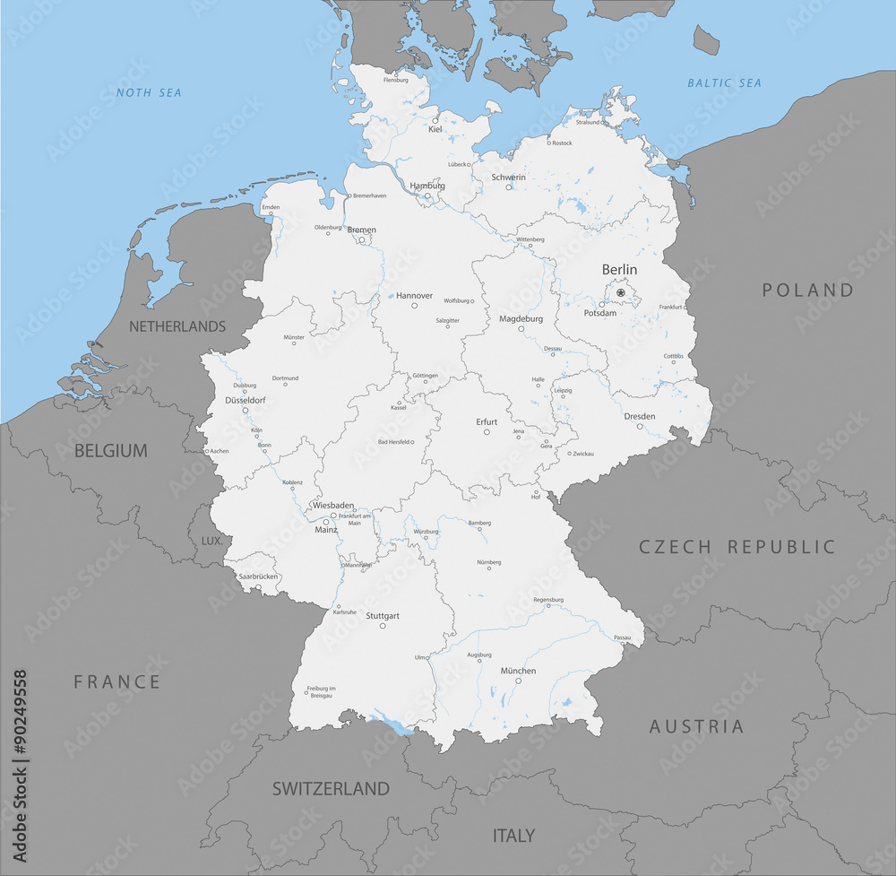 Map Of Germany Regions.Fotografie Obraz Highly Detailed Map Of Germany Regions Vector