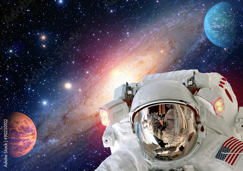 Deurstickers Nasa Astronaut spaceman helmet outer space solar system planet universe. Elements of this image furnished by NASA.