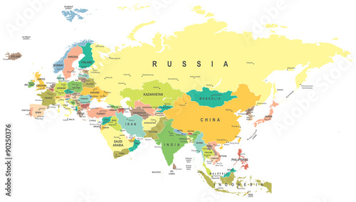Eurasia map - highly detailed vector illustration. Canvas Print