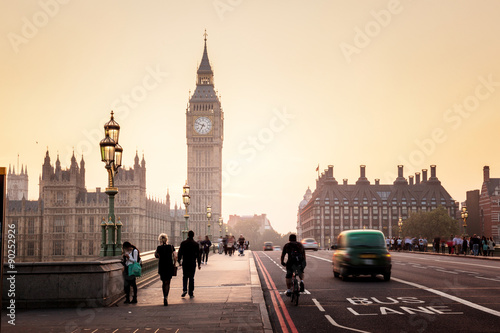 Westminster Bridge at sunset, London, UK Canvas Print