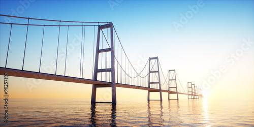 Spoed Foto op Canvas Brug Brücke in den Sonnenuntergang
