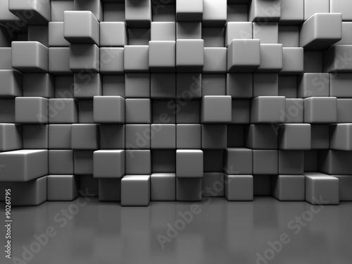 Fotobehang Stof Abstract Gray Cube Blocks Wall Background