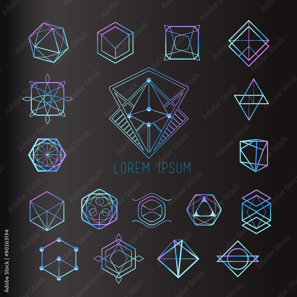 Fototapeta Sacred geometry forms, shapes of lines, logo, sign, symbol