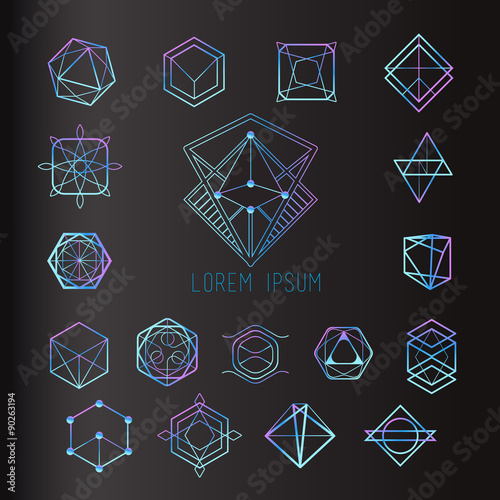 Photo Sacred geometry forms, shapes of lines, logo, sign, symbol