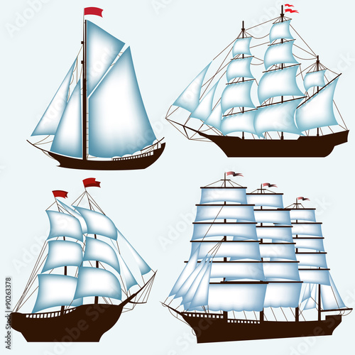 Fotografía Various ships with sails on a blue background