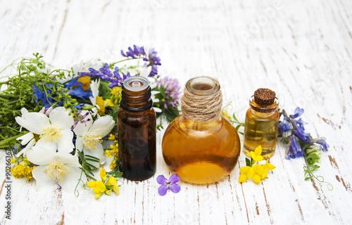 Fototapeta Nature oil with wildflowers obraz