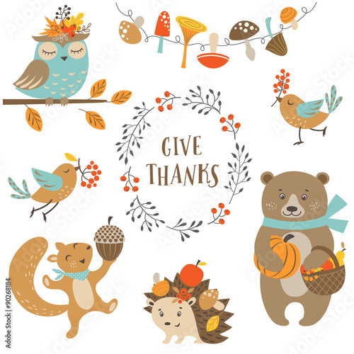 Obraz na plátně  Set of cute woodland animals for autumn and Thanksgiving design.