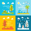 4 seasons park flat design set