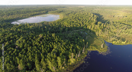 Photo Aerial view of two lakes, surrounded by pine forests and connected by a winding creek in the morning light