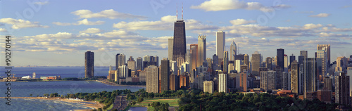 Poster Chicago Panoramic view of Lake Michigan and Lincoln Park, Chicago, IL