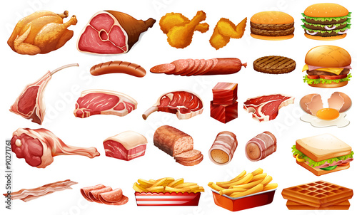 Fotografie, Obraz Different kind of meat and food