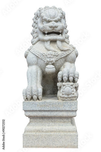 Photo  Chinese Imperial Lion, Guardian Lion stone, Chinese style on whi