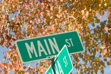 Main Street USA And Autumn Leaves, New Hampshire, New England