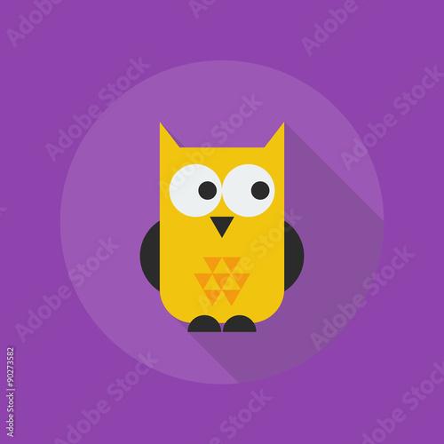 Deurstickers Uilen cartoon Halloween Flat Icon. Owl