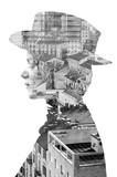 Double exposure of girl wearing hat and cityscape monochrome - 90276727
