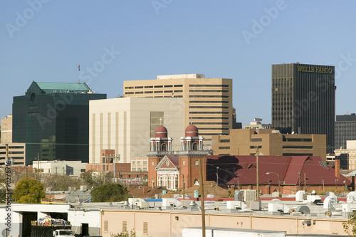 Poster Texas Panoramic view of skyline and downtown El Paso Texas, border town to Juarez, Mexico