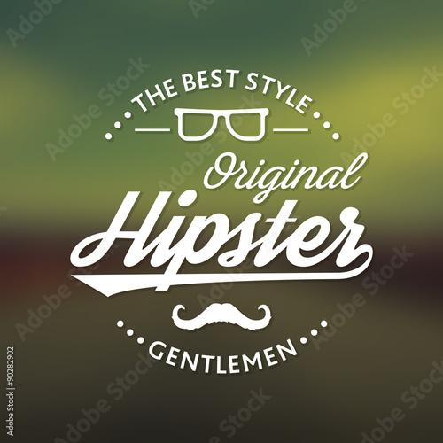 vintage label hipster theme badge logo on blurred color background