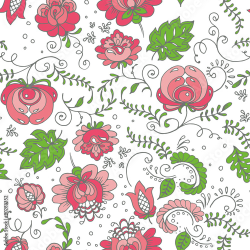 Seamless hand-drawn floral pattern. Vector illustration.