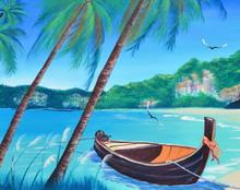 Row Boat On The Beach Oil Pain...
