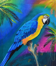 Macaw On Wooden Log Oil Painting On Canvas