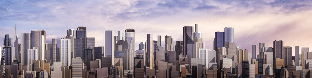 Fototapeta Day city panorama / 3D render of daytime modern city under bright sky