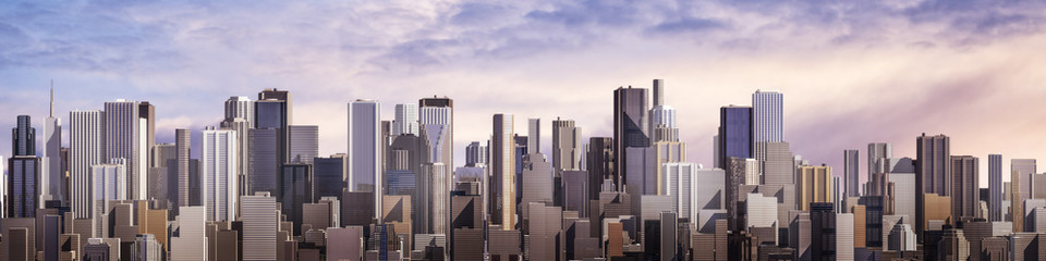 Plakat Day city panorama / 3D render of daytime modern city under bright sky