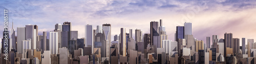 Day city panorama / 3D render of daytime modern city under bright sky #90285717