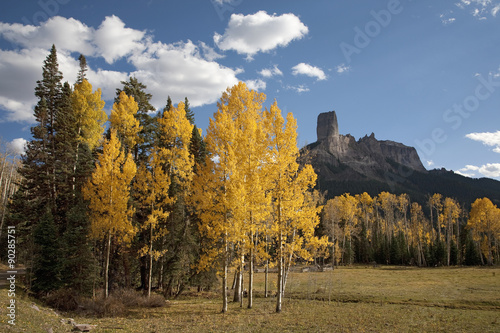 Chimney Peak, Aspens Colors and Courthouse Mountains in the Uncompahgre National Forest, Colorado Poster