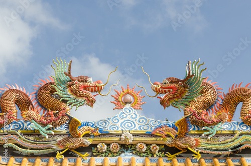 Chinese Dragon and blue sky. Wallpaper Mural