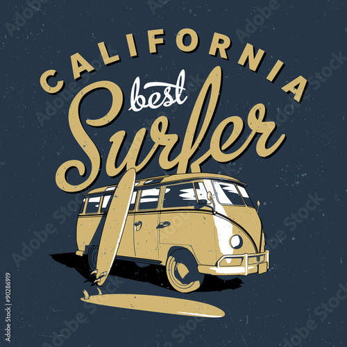 Photo  The best surfing in California label design for posters, t-shirts etc
