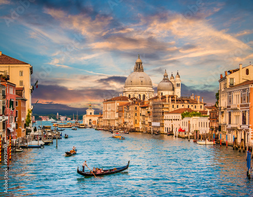 Tela  Canal Grande with Santa Maria Della Salute at sunset, Venice, Italy
