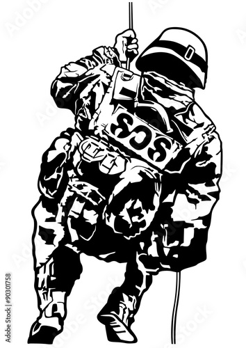 Vászonkép  Special Police Forces - Black and White Illustration, Vector