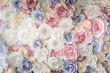 Leinwanddruck Bild - Backdrop of colorful paper roses