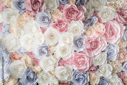 Poster Bloemenwinkel Backdrop of colorful paper roses