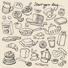 Morning Breakfast Doodle Vector Set