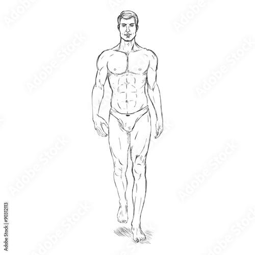 Vector Single Sketch Illustration , Fashion Male Model in
