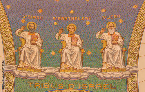 Jerusalem - mosaic of apostles in Church of St. Peter in Gallicantu.