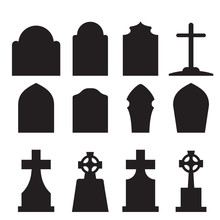 Set Of Headstone And Tombstone...
