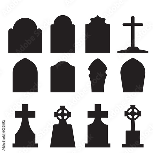 Set of headstone and tombstone silhouette Canvas Print