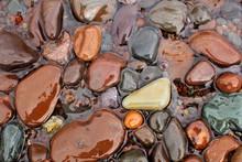 Wet Rocks At The Shoreline Of Lake Superior, Minnesota's North Shore.
