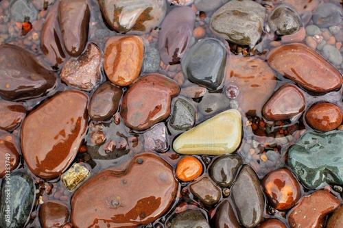 Fotografie, Obraz  Wet rocks at the shoreline of Lake Superior, Minnesota's North Shore