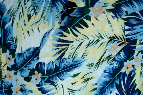 tekstura tkanina Vintage Hawajskie kwiaty i liście na deseń