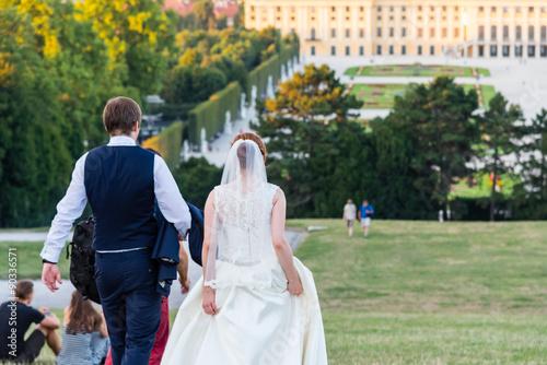 bride and groom in front of castle schönbrunn, austria Poster