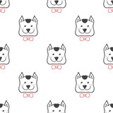 Vector cartoon style dog in bow tie seamless pattern. Cute