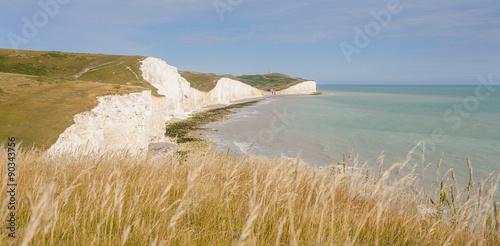 Poster Cote Panorama of Seven Sisters cliffs and the sea in Brighton, Sussex