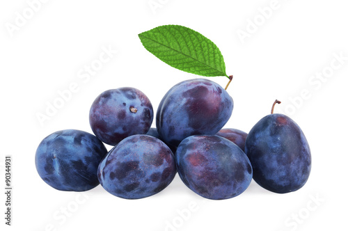 Plums with leaf