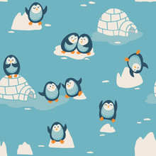 Seamless Pattern With Little Cute Penguins