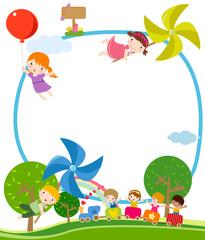 Children, windmill, and train
