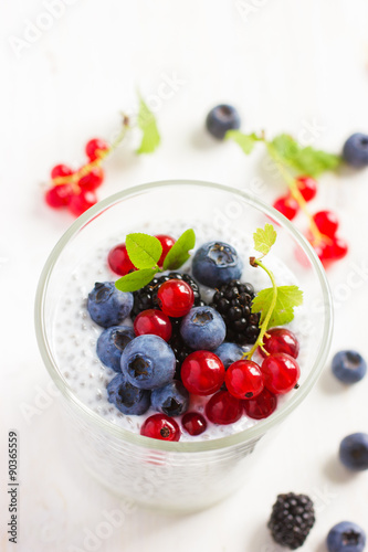 Fotografie, Obraz  chia seeds pudding with  fresh berries