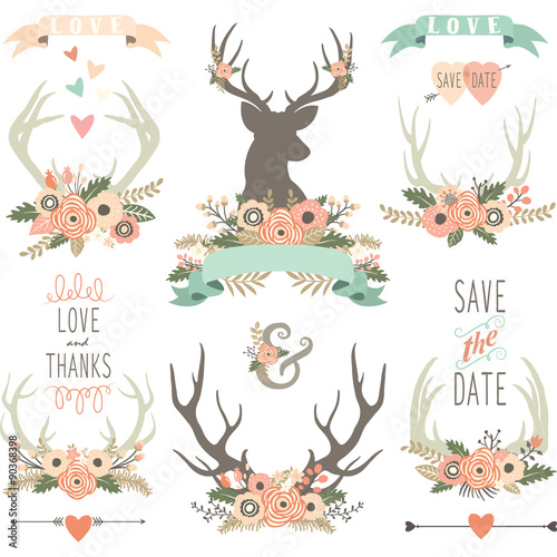 Wedding Floral Antlers Collections Wall mural